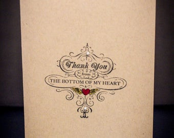 Hand Stamped Thank You Card- Package of 5 cards and coordinating envelopes