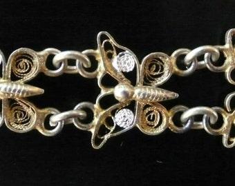 Vintage Antique 800 Gilt Silver Butterfly Filigree Link Bracelet