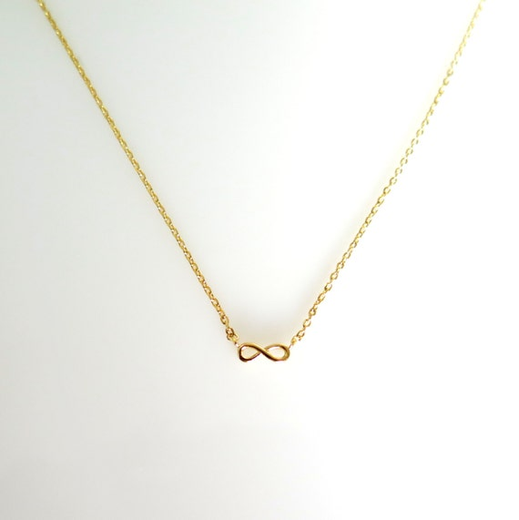 Tiny Gold Infinity Necklace, Gold Necklace, Infinity Necklace, Minimalist Necklace, Gift for Her, Daughter Gift