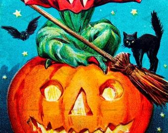 STUNNING WITCH & Giant Jack O LANTERN. Vintage Halloween Illustration. Vintage Halloween Witch Digital Download.