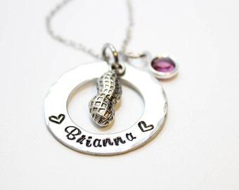 peanut necklace, personalized peanut necklace, peanut name necklace, peanut jewelry, peanut name jewelry, peanut theme necklace