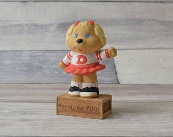 Vintage American Greetings Dotty Dog Cheerleader Get Along Gang Figurine Ceramic Knick Knack