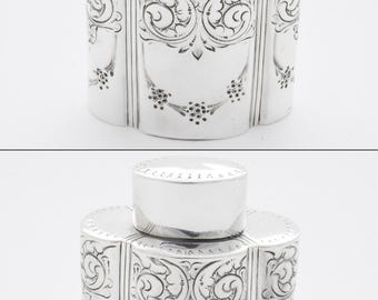 Edwardian Embossed Silver Tea Caddy 1902