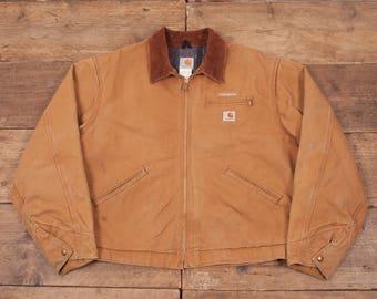 """Mens Vintage Carhartt Blanket Lined Workwear Jacket Duck Brown XL 50"""" R5149"""