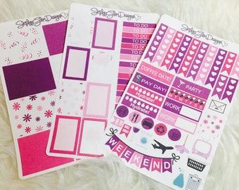 Happy Birthday Girl Weekly Sticker Kit | Erin Condren & Plum Paper Planner