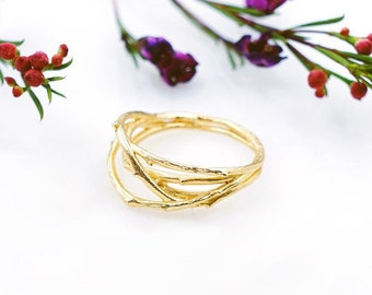 Twig Ring - Branch Thorn Ring - Gold - Crown Ring - Minimalist Jewelry - Twig of Thorns Ring - Fashion Ring - Unique Ring - Gift for Her
