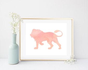 Pink Lion Print, Nursery Wall Art, Printable Art, Nursery Print, Art Print, Watercolor Art, digital Download, Girls Nursery Art