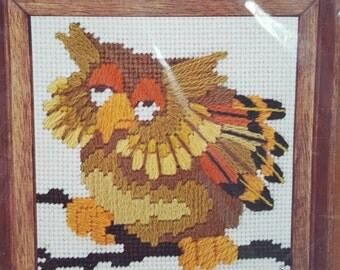 Vintage Jiffy Needlepoint Kit Harold Owl Orange #5400- Design by Dan Trotter 1978- Persian Style Wool- Stamped Needlepoint- Needlepoint Owl