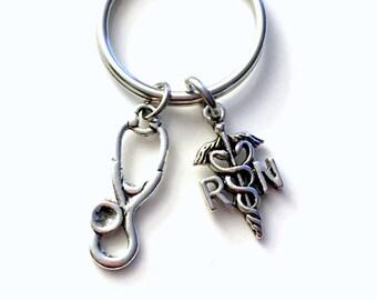 SALE RN Nurse's Keychain, Nursing Emblem Key Chain, Gifts for Nurses, Medical Symbol Present Keyring with stethoscope charm, Male Man Men
