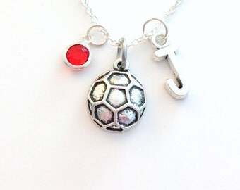Soccer Ball Necklace, Soccer Jewelry, Silver Charm Pendant Gift for Teenage Girl Teen Sport Football present letter birthstone team Boy Lady