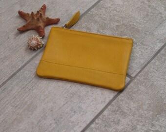Fair Trade Yellow Leather Coin Purse, Yellow Leather Coin Purse, Yellow Leather Purse, Yellow Leather Coin Pouch, Leather Coin Pouch Gift