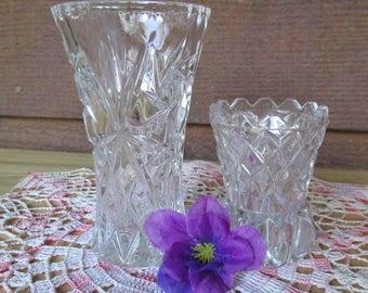 Vintage Czech Cut Crystal Bud Vases, Elegant Vintage, Home Decor, Wedding Gift, Collectibles, Vintage Glass
