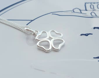 Four Leaf Clover Necklace, Sterling Silver, Four Leaf Clover, Good Luck Charm, Clover, Gift For Her