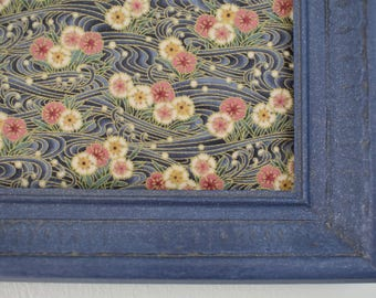 Magnet Board with Indigo Frame and Floral Background