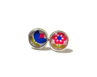 GIRLS EARRINGS - Children Earrings - Girls Posts - Flower Girl Gift - Pink - Blue