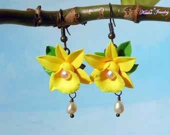 Pearl Drop Earrings yellow orchid handmade polymer clay Flower earrings Jewelry tropical flower Hawaiian tropical earrings Freshwater pearls
