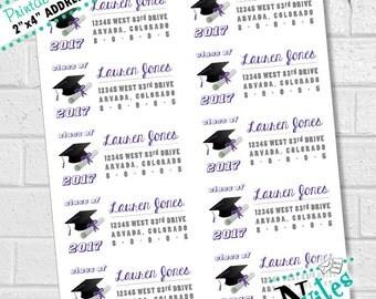Graduation Return Address Labels, Custom Graduation Labels, Purple Grad Labels, Avery 8463 or Avery 5163 Compatible   DIGITAL FILE