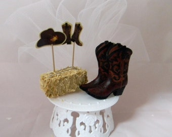 Wedding Reception Party Western Cowboy Rancher Farmer cake topper