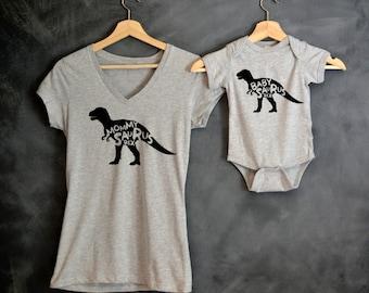 Mommysaurus Rex + Babysaurus Rex T-shirt Package, Dinosaur Shirts, T-Rex Shirts, Mother's day gift, Baby shower gift, Mama Bear, Baby Bear