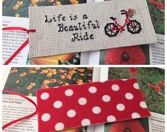 Life is a Beautiful Ride Bookmark, Bike Decor, Felt Bookmark, Quote Bookmark, Cross Stitch, Cloth Bookmark