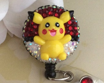 Rhinestone Pokémon Pikachu Retractable ID Badge Reel, Nurse Badge Reel