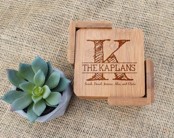 Custom Coasters, Personalized Engraved Coasters, Set of 6 & Holder, Housewarming Gift, Present, Wedding, Shower, New Home, Realtor Closing
