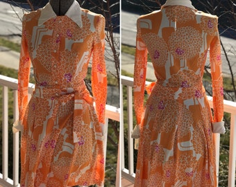 1960s Mod Wrap Dress - Floral Wrap Dress - Vintage Wrap Dress - Orange Dress - Mid Century Fashion - Domestic Shipping Included