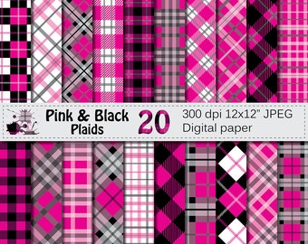 Pink and Black Plaids Digital Paper, Buffalo Plaid Lumberjack Check Digital papers, Black Pink Geometric Scrapbook papers, Instant Download