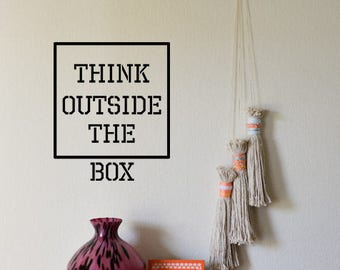 Think Outside The Box Wall Decal, MacBook Sticker, Yeti Cup Sticker, Inspiration Vinyl Decal, Open Mind Sticker, Think Different Vinyl Decal