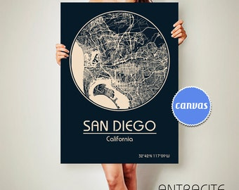 SAN DIEGO California Map San Diego Poster City Map San Diego California Art Print San Diego California poster San Diego California map art