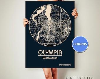 OLYMPIA Washington CANVAS Map Olympia Washington Poster City Map Olympia Washington Art Print Olympia Washington
