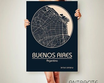 BUENOS AIRES Argentina CANVAS Map Buenos Aires Poster City Map Buenos Aires Art Print Buenos Aires poster Buenos Aires map art Poster map