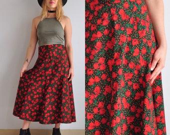 80s Poppy & Polka Dot High Waisted Midi Skirt // Floral // Boho Bohemian Festival