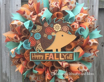 Fall Wreath, Happy Fall Y'all Wreath,  Thanksgiving Wreath, Fall Hedgehog Wreath, Fall Mesh Wreath, Autumn Wreath, Colorful Fall Wreath