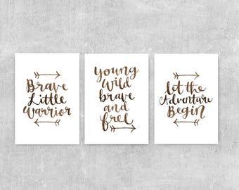 Adventure Nursery Decor, Set Of Prints, Brave Warrior, Typographic Art, Woodland Nursery Art, Let The Adventure Begin, Nursery Wall Art