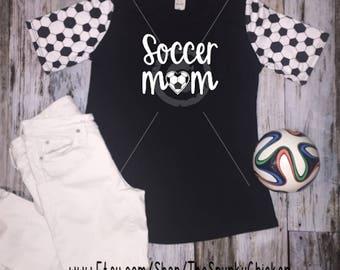 Ladies Short Sleeve Soccer Mom Love Heart Raglan Shirt **CHOOSE DESIGN