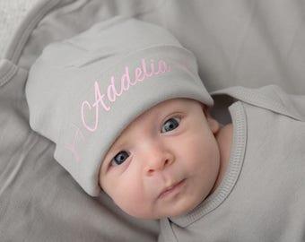 Newborn Girl Name Hat, Newborn Baby Hat, Personalized Baby Hat, New Baby Hat, Baby Girl Hat, Pink and Gray Hat, Newborn Photo Prop Hat, Hat
