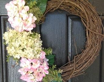 Pink Hydrangea Wreath, Hydrangea Wreath, Shabby Chic, Shabby Chic Decor, Summer Wreath, Summer Wreaths for Front Door, Door Wreath Summer