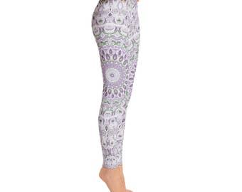 Mid Rise Leggings Printed Purple and Green Mandala Yoga Pants - Hooping Leggings for Women, Fashion Tights