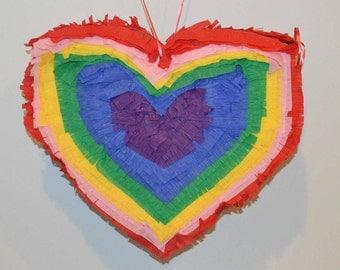 Rainbow Heart Piñata - Ready to Ship!!