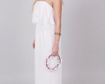 Strapless boho lace wedding dress • The Rose Gown • boho wedding gown, beach wedding dress