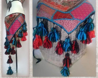 "38"" 97 cm, Tribal Belly Dance Hip Scarf, Hip Shawl, Hip Wrap with Blue and Red Tassels, ATS"