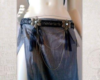Tribal Fusion Belt with black tulle fringes, Gothic Belt, Tribal Fusion Costume Belt, Tribal Belly Dance Belt, Goth Dark fusion Belt
