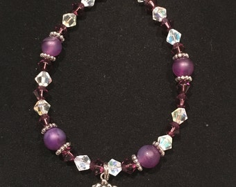 Amethyst and Clear Swarovski Crystal Toggle Bracelet with Heart & Rose Charm (#7806)