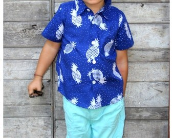 2T Boys button up shirt / Boys Cotton shirt / toddler shirt / Vacation shirt / Pineapple Shirt / Oxford Shirt / Collared Shirt / Beach Shirt