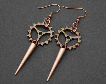 Steampunk earrings, gear and tips