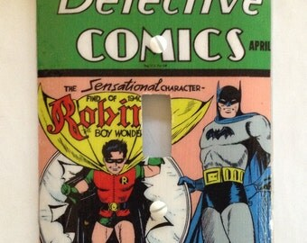 Detective #38 Batman Light Switch Cover Switchplate Comic Book Decoupage Robin Vintage Golden Age