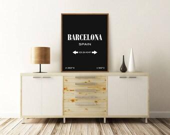 BARCELONA PRINT, Barcelona Spain, Barcelona Poster, Barcelona Map, Spain Map, Typography Print, Printable Wall Art, Minimalist Poster
