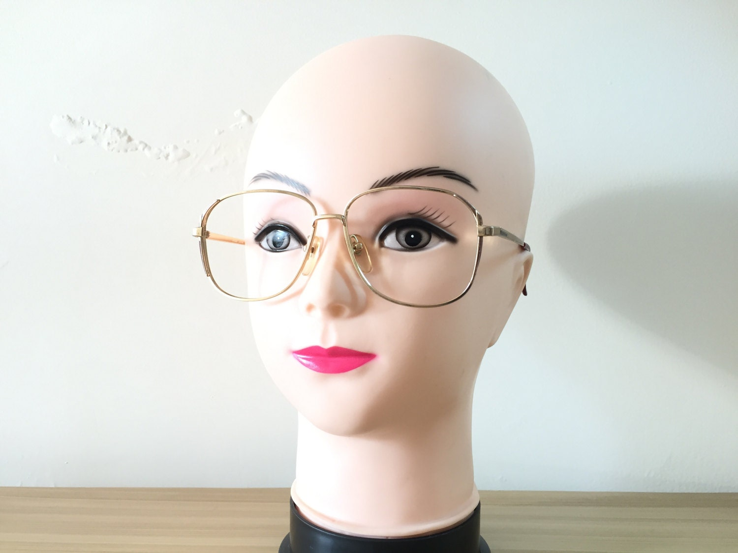 Square Eyeglass frame Large Gold frames Retro Spectacles Oversized ...