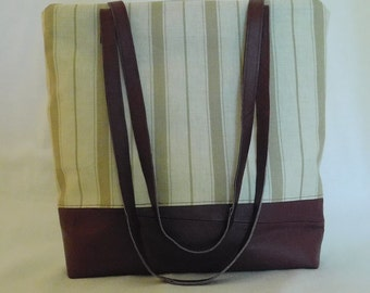 Red wine refashioned leather and striped linen zip top tote bag